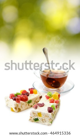 image of tea and sweets closeup