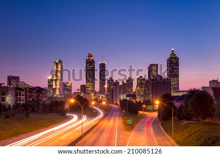 Image of the Atlanta skyline during twilight  - stock photo