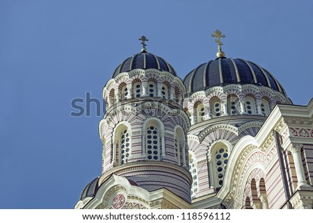 Image of the beautiful orthodox cathedral in Riga, Latvia. - stock photo