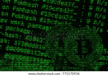 Image of the binary code from bright green digits, through which the image of the physical bitcoin