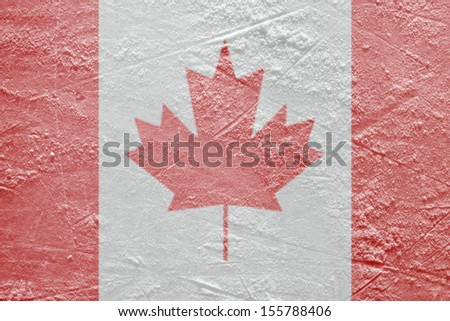 Image of the Canadian flag on a hockey rink. Texture, background - stock photo