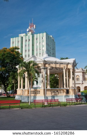 Image of the central plaza in Santa Clara, Cuba. The plaza Leoncio Vidal is a National Monument in the Caribbean Island. Place where the main battle for the Revolution was fought in 1958 - stock photo