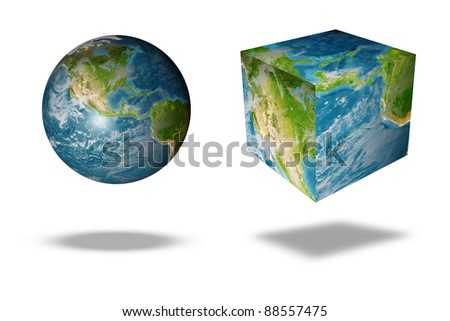 image of the earth square globe on white background - stock photo