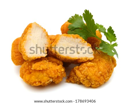 image of the fried Popcorn chicken is a best food on white  - stock photo