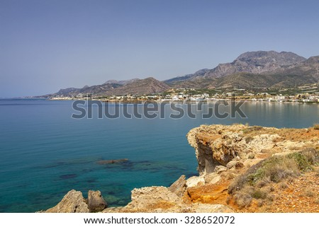 Image of the hilly south-east coast of Crete, Greece.  - stock photo