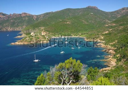 Image of the nice creek of Girolata in Corsica. - stock photo