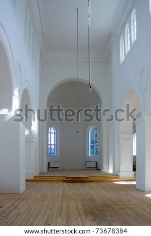 Image of the Orthodox Church during the repairs inside the building - stock photo
