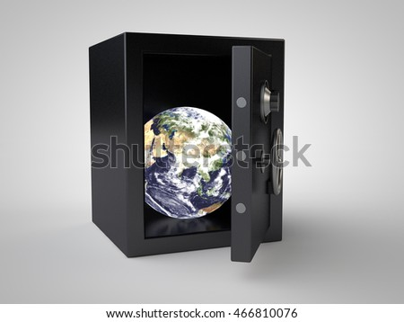 image of the planet earth, hidden in iron safe on a white background, 3d rendering