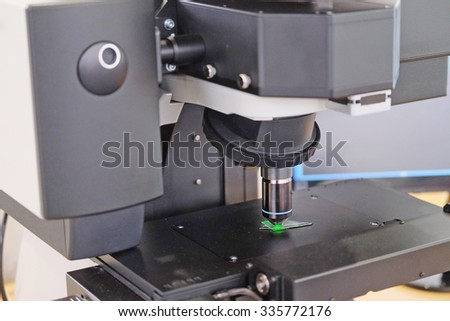 Image of the professional medical laboratory microscope. Scientific microscope lens. - stock photo