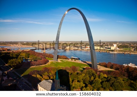 Image of the St. Louis Gateway Arch in St. Louis, MO.   - stock photo