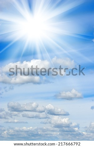 image of the sun in the clouds - stock photo