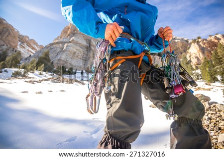 Image of the technical material used for mountaineering and ice climbing. Shot in the Pyrenees, Spain. - stock photo