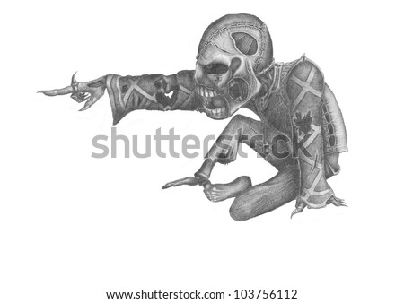 image of the undead, pointing his hand at something in front - stock photo