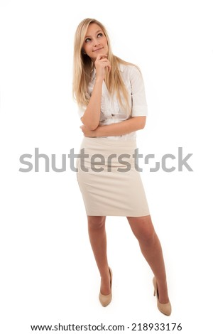 Image of Thinking Blond Woman Looking Up with Hand on Chin in Studio with White Background