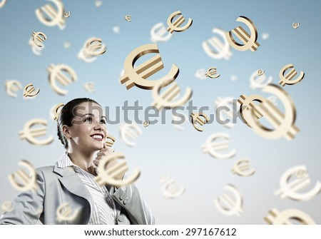 Image of thoughtful businesswoman with euro symbol. Currency concept - stock photo
