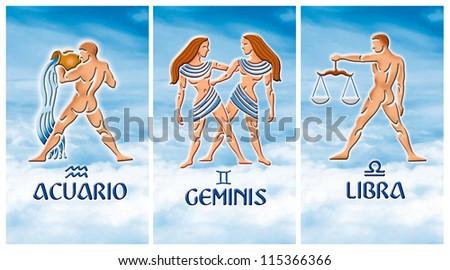 Image of three Air zodiacal signs, Aquarius, Gemini, Libra - stock photo