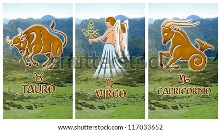 Image of three ground zodiac signs, Taurus, Virgo, Capricorn - stock photo