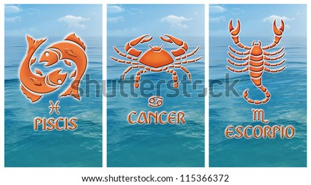 Image of three Water zodiacal signs, Pisces, Cancer, Scorpio - stock photo