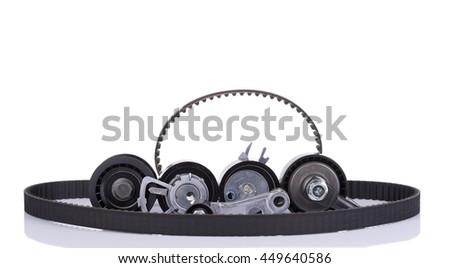 image of Timing belt kit isolated on white - stock photo