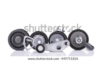 Image of Timing belt rollers isolated on white - stock photo
