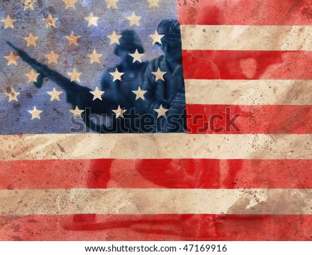 image of toy army men layered with textured old flag - stock photo