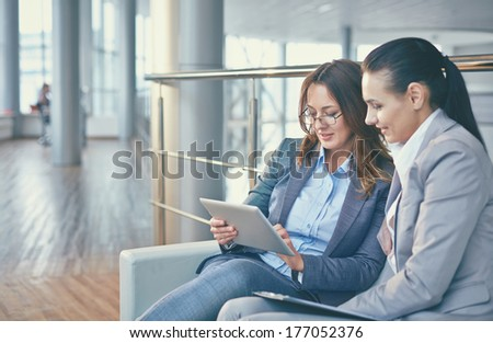 Image of two elegant businesswomen discussing computer project - stock photo