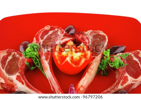 image of uncooked fresh ribs on plate
