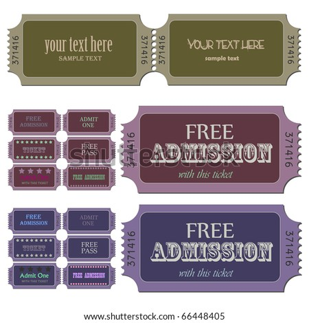 Image of various admission tickets with editable text. - stock photo
