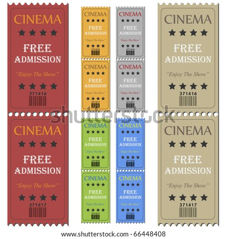 Image of various colorful cinema tickets isolated on a white background. - stock photo
