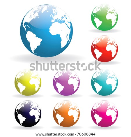 Image of various colorful earth globes isolated on a white background.