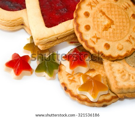 image of various delicious cookies on a white background - stock photo