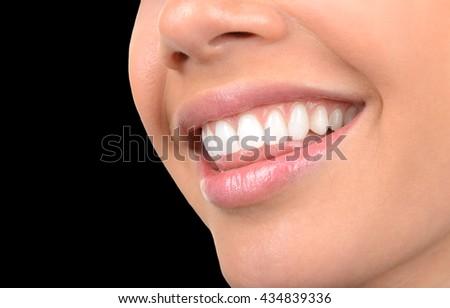 Image of very Beautiful Clean Teeth on Black - stock photo