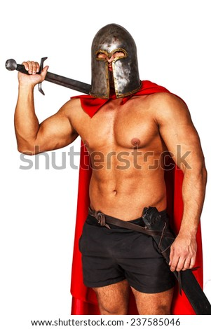 Image of warrior in helmet and mantle - stock photo