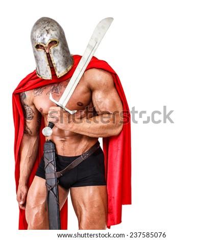 Image of warrior who fell asleep - stock photo