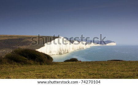 Image of White cliffes on the english channel coast line. - stock photo