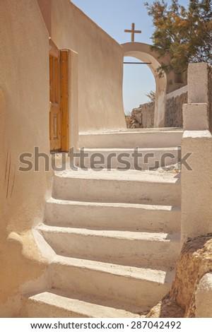 Image of white & yellow washed steps. Santorini Island, Greece.  - stock photo