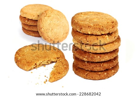 Image of whole wheat biscuits on white background - stock photo