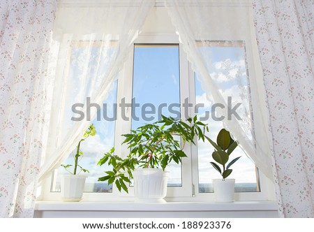 Image of window and curtain in the room - stock photo