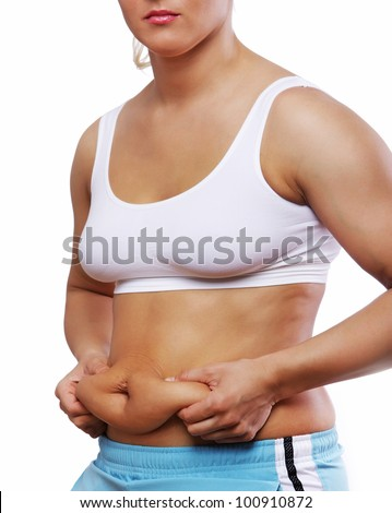 Image of woman with excess weight - stock photo
