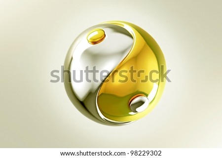 image of yin yang made of gold and silver - stock photo