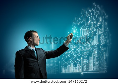 Image of young businessman touching icon of media screen - stock photo