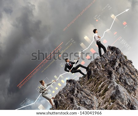 Image of young businesspeople pulling graph. Chart growth concept - stock photo