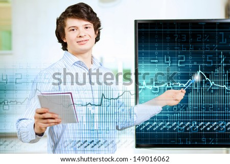 Image of young man making presentation on screen - stock photo