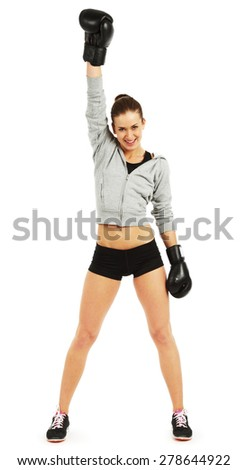Image of young pretty boxer woman standing and holding hand up isolated on white