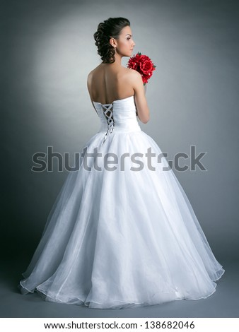 Image of young slim model posing in wedding dress - stock photo