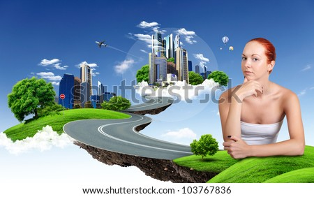 Image of young woman against cityscape and nature landscape - stock photo