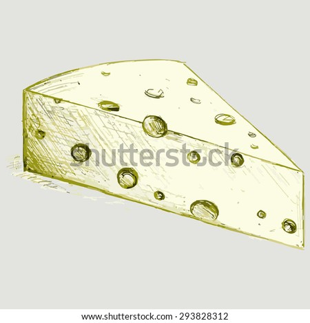 Image piece of cheese. Dairy product. Raster version - stock photo