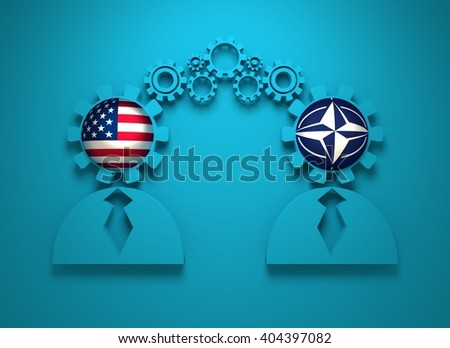 Image relative to politic and economic relationship between USA and NATO. National flags in gears head of the businessman. Teamwork concept. 3D rendering - stock photo