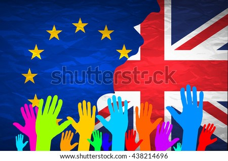Image relative to politic relationships between Europe Union and United Kingdom. National flags on concrete textured backdrop. Brexit theme art - stock photo
