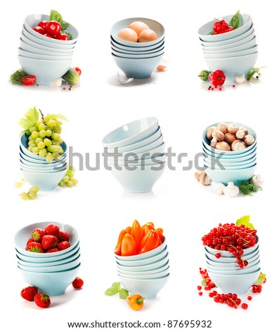 image set of blue bowls with fresh fruits and vegetables on white background